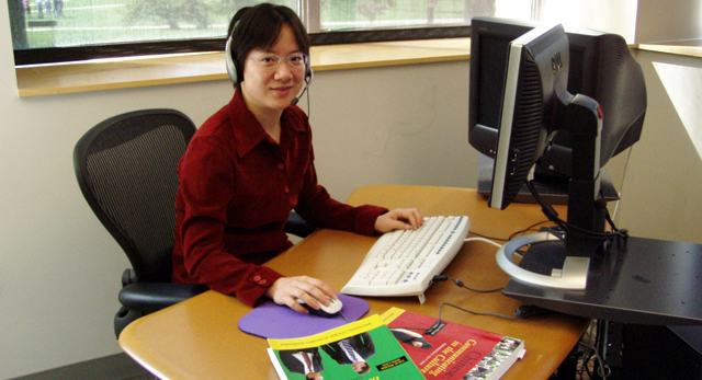Hanning Chen at computer training station.